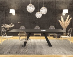 DINING TABLE ASCENSION TITANIUM CERAMICS BLACK LACQUERED STEEL 190/270x100x76 CM (DT100TI)