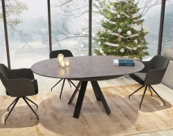 DINING TABLE CHANTERELLE ARGILE CERAMICS BLACK LACQUERED STEEL 180/130 x130 x76 CM (DT130AR)