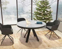DINING TABLE CHANTERELLE MAT MARBLE CERAMICS BLACK LACQUERED STEEL 180/130 x130 x76 CM (DT130MA)