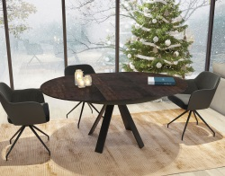 DINING TABLE CHANTERELLE STEEL CERAMICS BLACK LACQUERED STEEL 180/130 x130 x76 CM (DT130SD)
