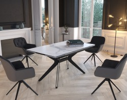 DINING TABLE FASCINATION MAT MARBLE CERAMICS BLACK LACQUERED STEEL 150x90/150x76 CM (DT086MA)