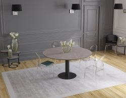 DINING TABLE GRANDE LUNA ARGILE CERAMICS BLACK LACQUERED STEEL 90/150x150x76 CM (DT035AR)
