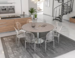 DINING TABLE GRANDE LUNA ARGILE CERAMICS BRUSHED STAINLESS STEEL 90/150x150x76 CM (DT036AR)