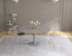 DINING TABLE GRANDE LUNA ARGILE CERAMICS FLINT GREY LACQUERED STEEL 90/150x150x76 CM (DT033AR)