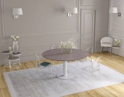DINING TABLE GRANDE LUNA ARGILE CERAMICS WHITE LACQUERED STEEL 90/150x150x76 CM (DT037AR)