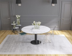 DINING TABLE GRANDE LUNA MAT MARBLE CERAMICS BLACK LACQUERED STEEL 90/150x150x76 CM (DT035MA)