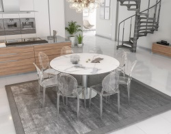 DINING TABLE GRANDE LUNA MAT MARBLE CERAMICS BRUSHED STAINLESS STEEL 90/150x150x76 CM (DT036MA)