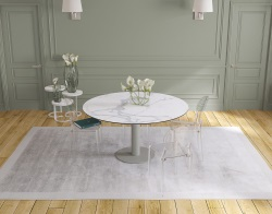 DINING TABLE GRANDE LUNA MAT MARBLE CERAMICS FLINT GREY LACQUERED STEEL 90/150x150x76 CM (DT033MA)