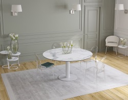 DINING TABLE GRANDE LUNA MAT MARBLE CERAMICS WHITE LACQUERED STEEL 90/150x150x76 CM (DT037MA)
