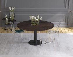 DINING TABLE GRANDE LUNA STEEL CERAMICS BLACK LACQUERED STEEL 90/150x150x76 CM (DT035SD)