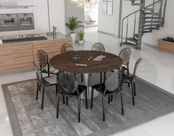 DINING TABLE GRANDE LUNA STEEL CERAMICS BRUSHED STAINLESS STEEL 90/150x150x76 CM (DT036SD)