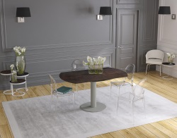 DINING TABLE GRANDE LUNA STEEL CERAMICS FLINT GREY LACQUERED STEEL 90/150x150x76 CM (DT033SD)