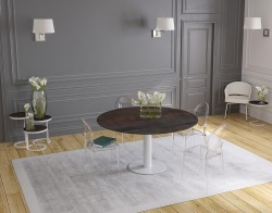 DINING TABLE GRANDE LUNA STEEL CERAMICS WHITE LACQUERED STEEL 90/150x150x76 CM (DT037SD)