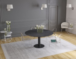DINING TABLE GRANDE LUNA TITANIUM CERAMICS BLACK LACQUERED STEEL 90/150x150x76 CM (DT035TI)