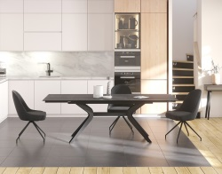 DINING TABLE IMPULSION TITANIUM CERAMICS BLACK LACQUERED STEEL 150/230x100x76 CM (DT095TI)