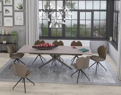 DINING TABLE INFLUENCE ARGILE CERAMICS TAUPE GREY LACQUERED STEEL 190/270x100x76 CM (DT082AR)