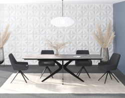 DINING TABLE INFLUENCE SILVER CERAMICS BLACK LACQUERED STEEL 150/230x100x76 CM (DT097SI)