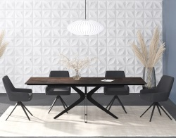 DINING TABLE INFLUENCE STEEL CERAMICS BLACK LACQUERED STEEL 150/230x100x76 CM (DT097SD)