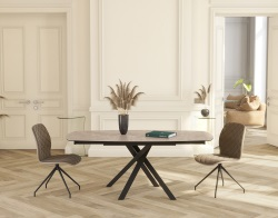 DINING TABLE KHEOPS ARGILE CERAMICS BLACK LACQUERED STEEL 130/190x100x76 CM (DT080AR)