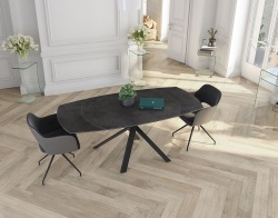 DINING TABLE KHEOPS HAVANA BLACK LACQUERED STEEL 130/190x100x76 CM (DT080HA)