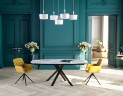 DINING TABLE KHEOPS MAT MARBLE CERAMICS BLACK LACQUERED STEEL 130/190x100x76 CM (DT080MA)