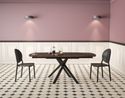 DINING TABLE KHEOPS STEEL CERAMICS BLACK LACQUERED STEEL 130/190x100x76 CM (DT080SD)