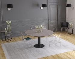 DINING TABLE LUNA ARGILE CERAMICS BLACK LACQUERED STEEL 90/135x135x76 CM (DT017AR)
