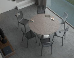DINING TABLE LUNA ARGILE CERAMICS BRUSHED STAINLESS STEEL 90/135x135x76 CM (DT018AR)