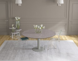 DINING TABLE LUNA ARGILE CERAMICS FLINT GREY LACQUERED STEEL 90/135x135x76 CM (DT015AR)