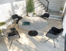 DINING TABLE LUNA MESH BLACK LACQUERED STEEL 90/135x135x76 CM (DT017MB)