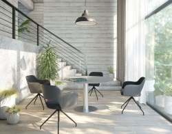 DINING TABLE LUNA MESH BRUSHED STAINLESS STEEL 90/135x135x76 CM (DT018MB)