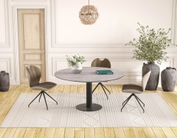 DINING TABLE LUNA SILVER CERAMICS BLACK LACQUERED STEEL 90/135x135x76 CM (DT017SI)