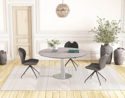 DINING TABLE LUNA SILVER CERAMICS BRUSHED STAINLESS STEEL 90/135x135x76 CM (DT018SI)