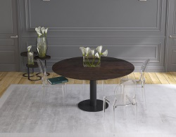DINING TABLE LUNA STEEL CERAMICS BLACK LACQUERED STEEL 90/135x135x76 CM (DT017SD)