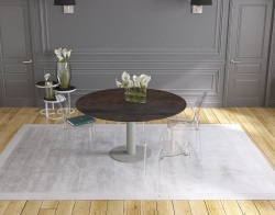 DINING TABLE LUNA STEEL CERAMICS FLINT GREY LACQUERED STEEL 90/135x135x76 CM (DT015SD)