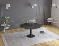 DINING TABLE LUNA TITANIUM CERAMICS BLACK LACQUERED STEEL 90/135x135x76 CM (DT017TI)