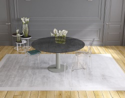 DINING TABLE LUNA TITANIUM CERAMICS FLINT GREY LACQUERED STEEL 90/135x135x76 CM (DT015TI)