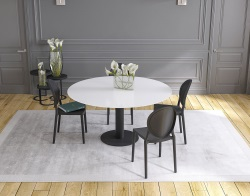 DINING TABLE LUNA WHITE ACID ETCHED BLACK LACQUERED STEEL 90/135x135x76 CM (DT017LWA)