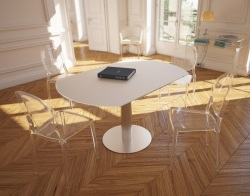 DINING TABLE LUNA WHITE ACID ETCHED BRUSHED STAINLESS STEEL 90/135x135x76 CM (DT018LWA)