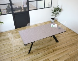 DINING TABLE ONTARIO ARGILE CERAMICS BLACK LACQUERED STEEL 190/270x100x76 CM (DT044AR)