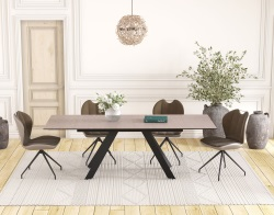 DINING TABLE ONTARIO ARGILE CERAMICS BLACK LACQUERED STEEL 150/230x100x76 CM (DT045AR)