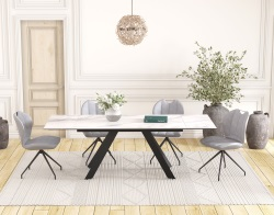 DINING TABLE ONTARIO MAT MARBLE CERAMICS BLACK LACQUERED STEEL 150/230x100x76 CM (DT045MA)