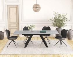 DINING TABLE ONTARIO SILVER CERAMICS BLACK LACQUERED STEEL 150/230x100x76 CM (DT045SI)