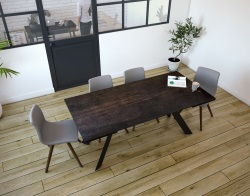 DINING TABLE ONTARIO STEEL CERAMICS BLACK LACQUERED STEEL 190/270x100x76 CM (DT044SD)