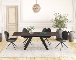 DINING TABLE ONTARIO STEEL CERAMICS BLACK LACQUERED STEEL 150/230x100x76 CM (DT045SD)