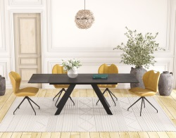 DINING TABLE ONTARIO TITANIUM CERAMICS BLACK LACQUERED STEEL 150/230x100x76 CM (DT045TI)