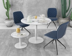 DINING TABLE ORLANDO MAT MARBLE CERAMICS WHITE LACQUERED STEEL Ø100X75 CM (DT502MA)
