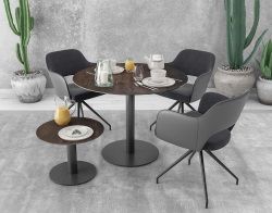 DINING TABLE ORLANDO STEEL CERAMICS BLACK LACQUERED STEEL Ø75X75 CM (DT400SD)