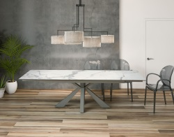 DINING TABLE OTTAWA MAT MARBLE CERAMICS TAUPE GREY LACQUERED STEEL 190/270x100x76 CM (DT040MA)