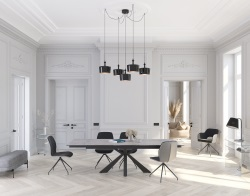 DINING TABLE OTTAWA SILVER CERAMICS BLACK LACQUERED STEEL 190/270x100x76 CM (DT041SI)